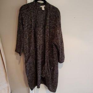 H&M Black Long Open Cardigan Sweater Size M